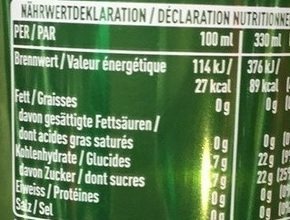 Coca-Cola Life - Nutrition facts