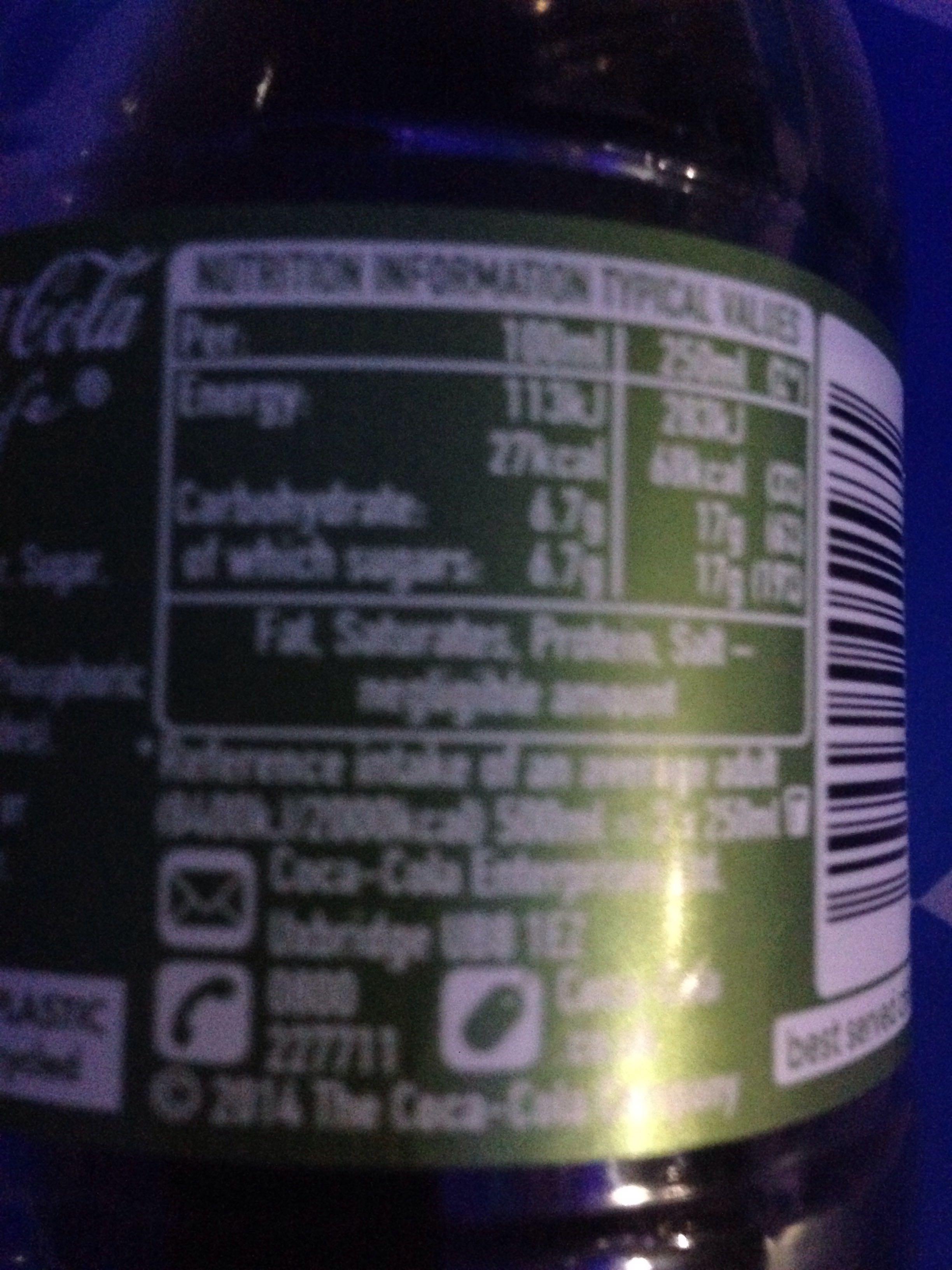 Coca Cola Life Nutrition Coca-cola Life Información