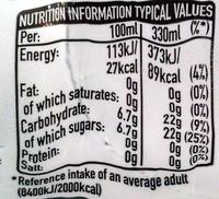 Coca-Cola Life - Nutrition facts - en