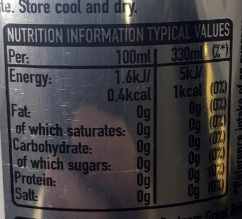 Diet Coke (made In GB) - Nutrition facts - en