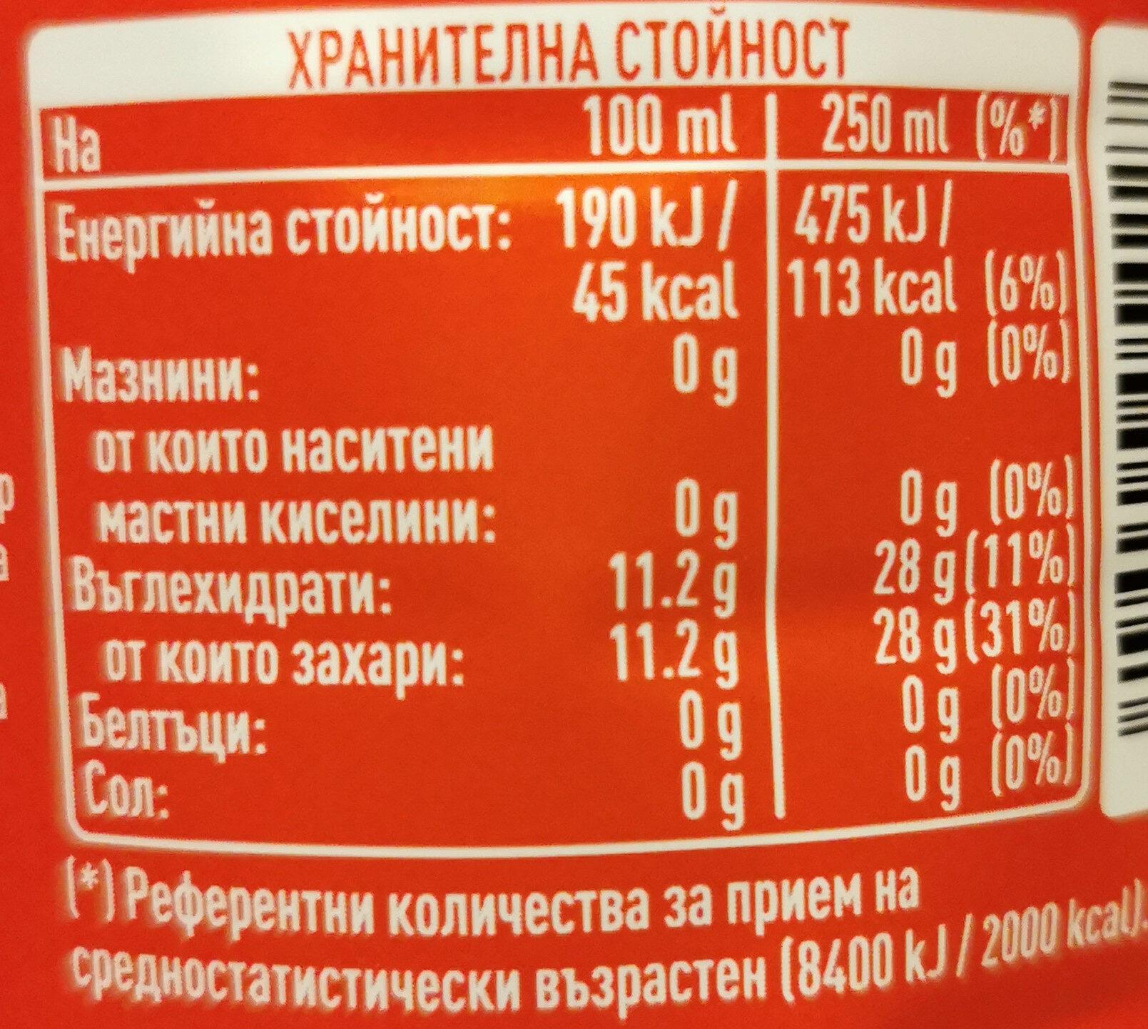 Coca cola 1L - Nutrition facts - en