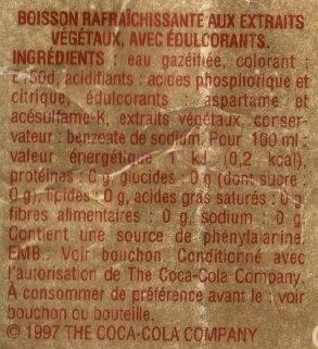 Coca-Cola Light - sans caféine, sans sucre - Valori nutrizionali - fr