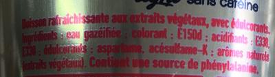 Coca-Cola light sin cafeína - Ingredienti