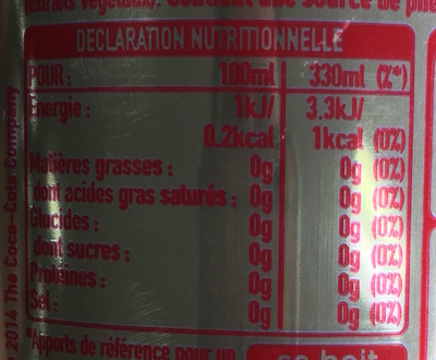 Coca-Cola light sin cafeína - Valori nutrizionali