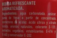 Fanta sabor Fresa - Ingredients