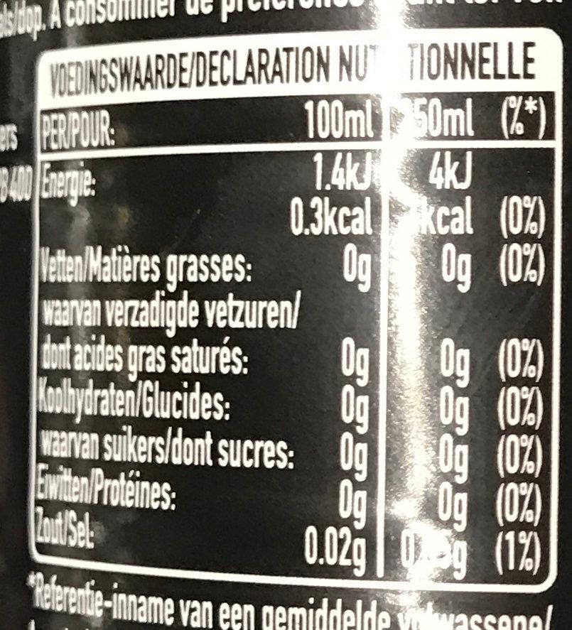 Coca cola zero - Informação nutricional - fr