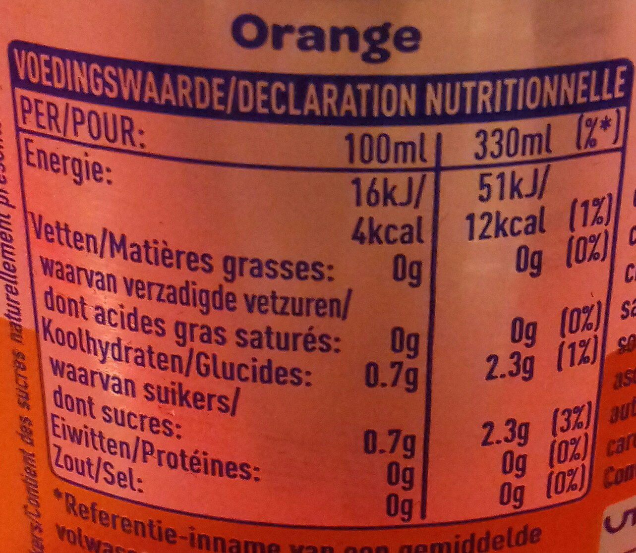 Fanta orange zéro - Informations nutritionnelles