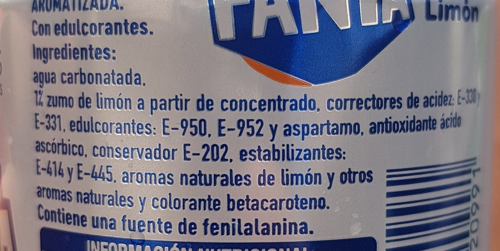Fanta limon Zero - Ingredients