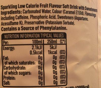Dr Pepper Zero 2 Litre Bottle - Nutrition facts - fr