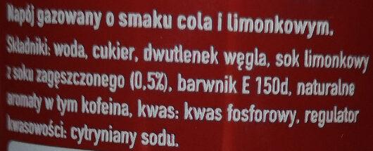 Napój gazowany o smaku cola i limonkowym. - Składniki