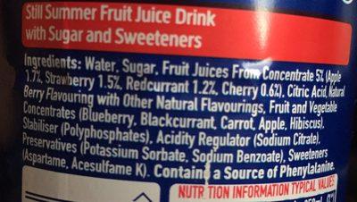 Oasis Summer Fruits - Ingrédients
