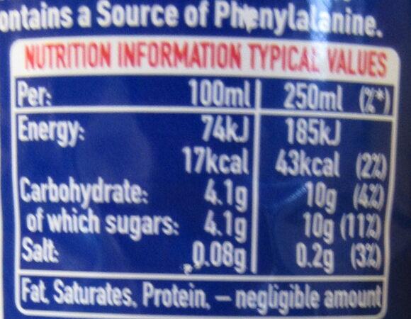 Oasis Summer Fruits - Informations nutritionnelles