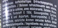 Coca Cola Zero - Inhaltsstoffe