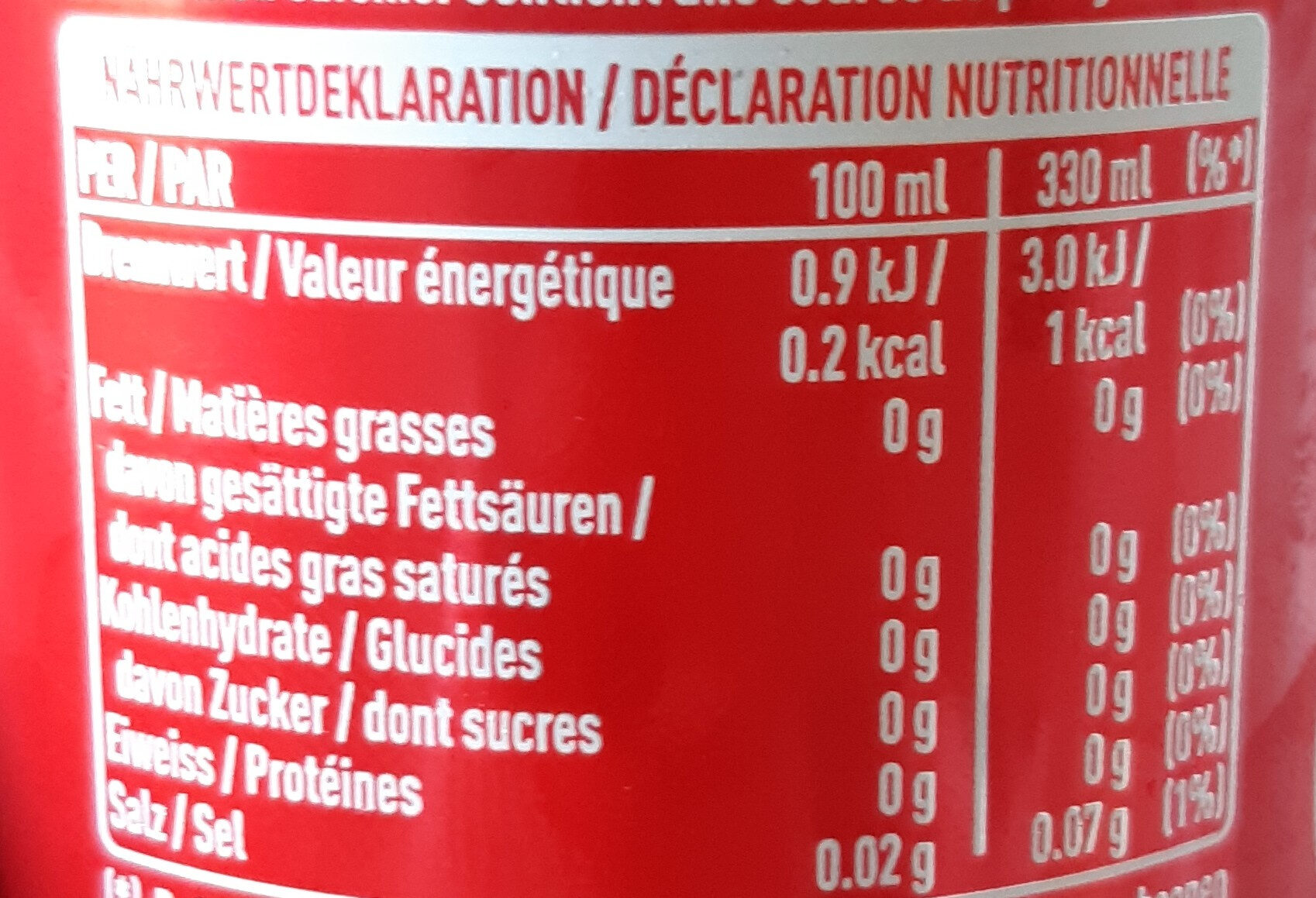 Coca-Cola Zero - Nährwertangaben - de