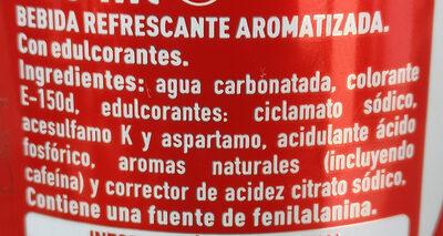 Coca Cola Zero - Información nutricional