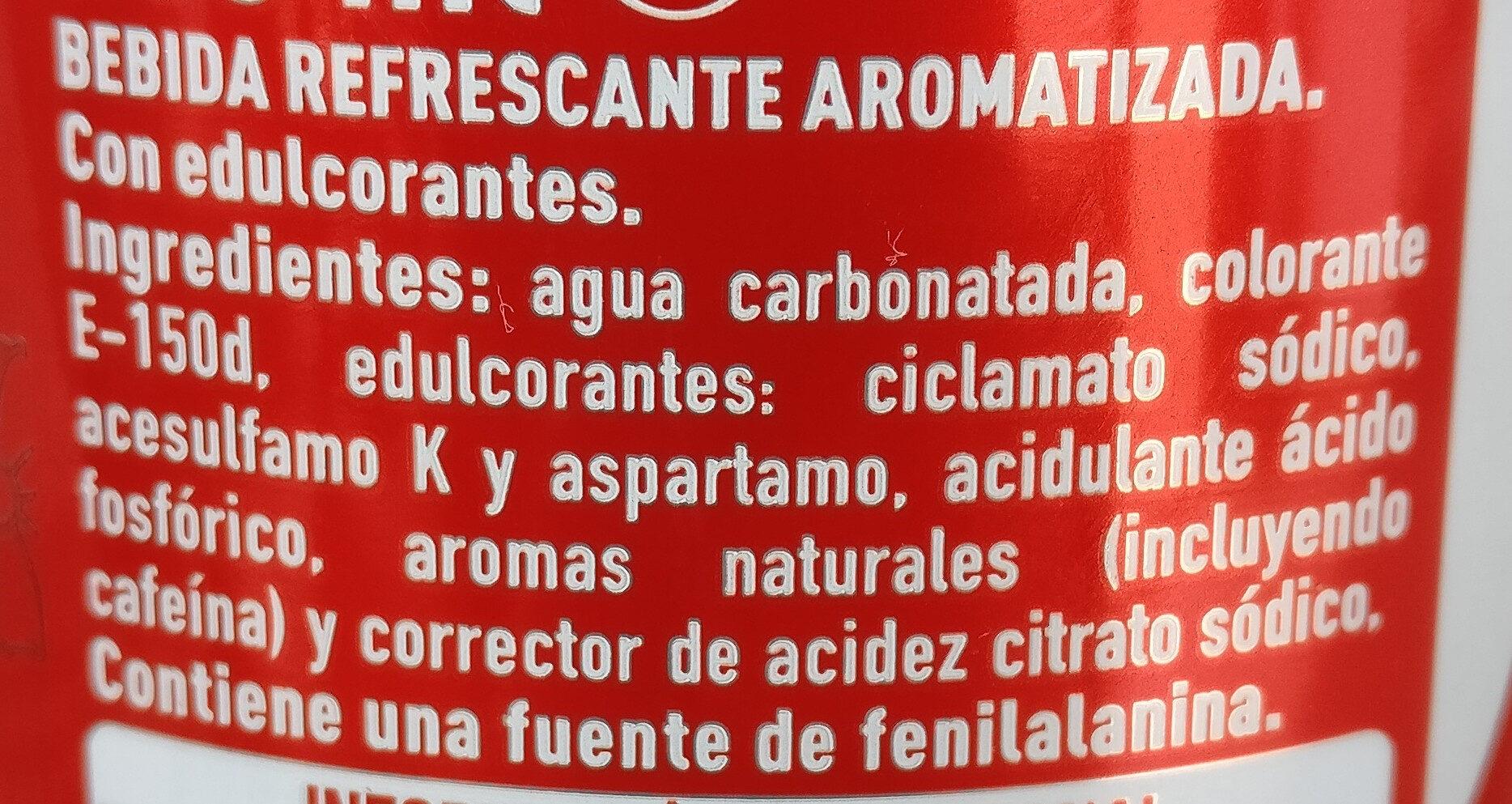 Coca cola zero - Información nutricional - es