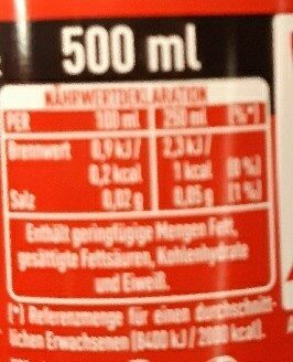 Coca-cola zéro - Nährwertangaben - de