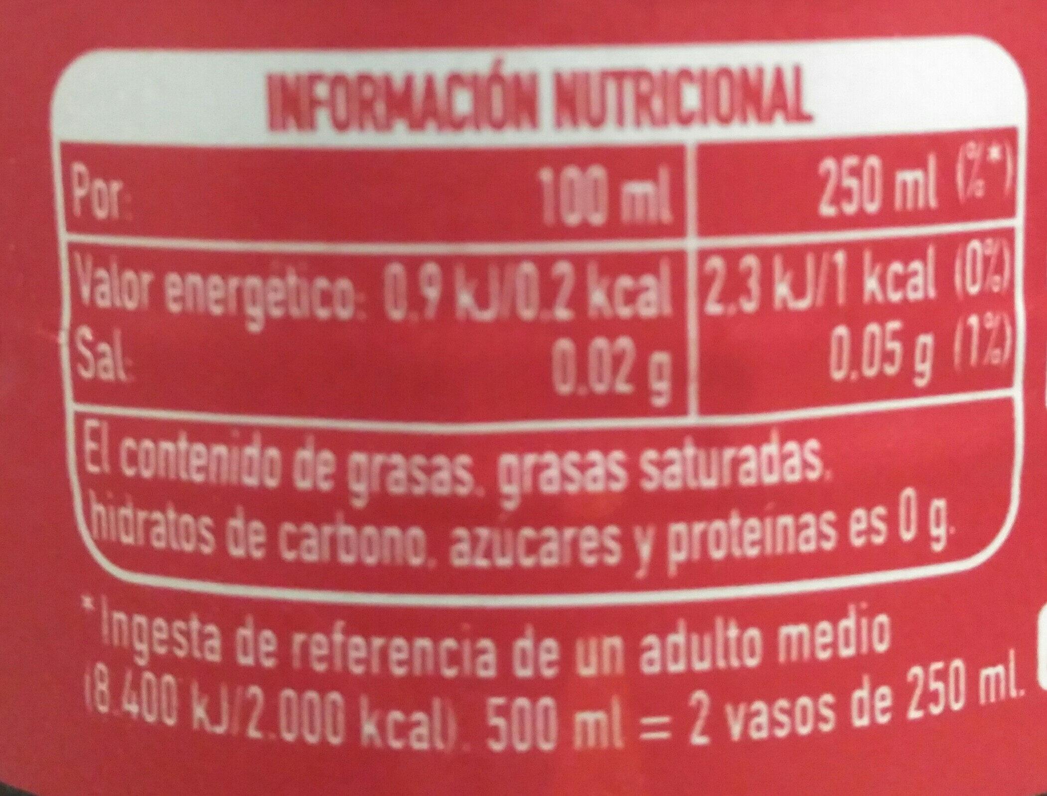zero - Información nutricional - es
