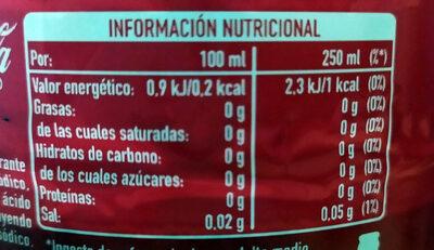 Coca-Cola zero azúcar - Voedingswaarden - es
