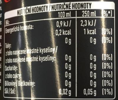 Coca-Cola Zero - Informations nutritionnelles - fr