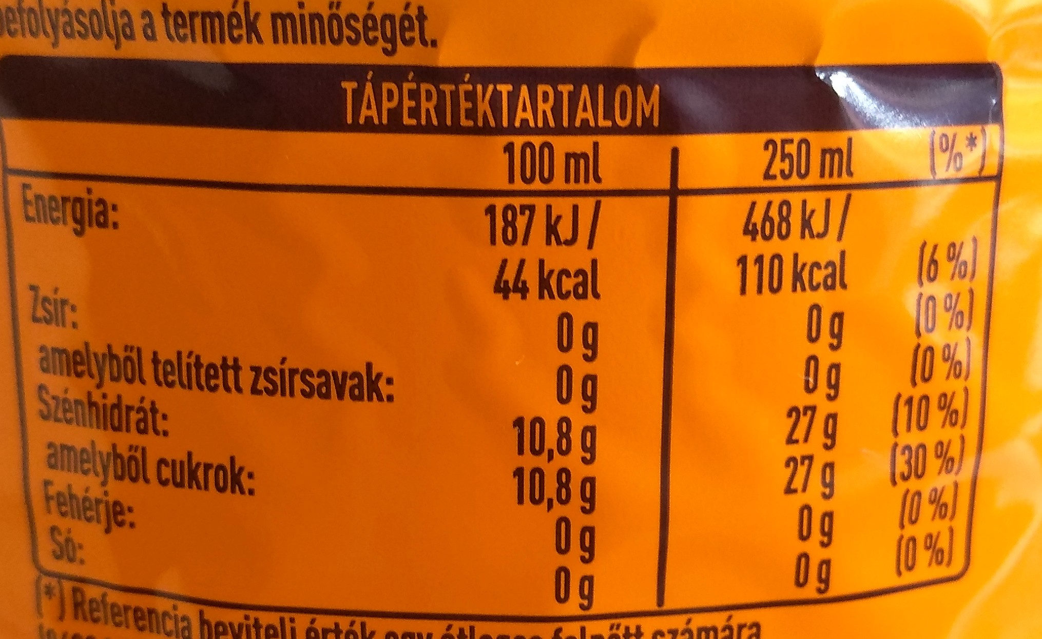 Fanta - Informations nutritionnelles