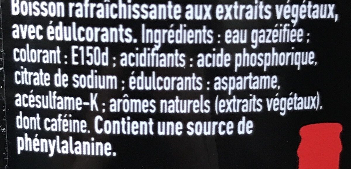 Coca Zéro - Ingrédients - fr