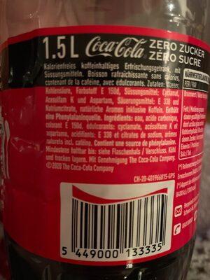 Coca Cola Zero - Zutaten - de