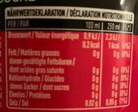 Coca Cola Zero - Nährwertangaben - de