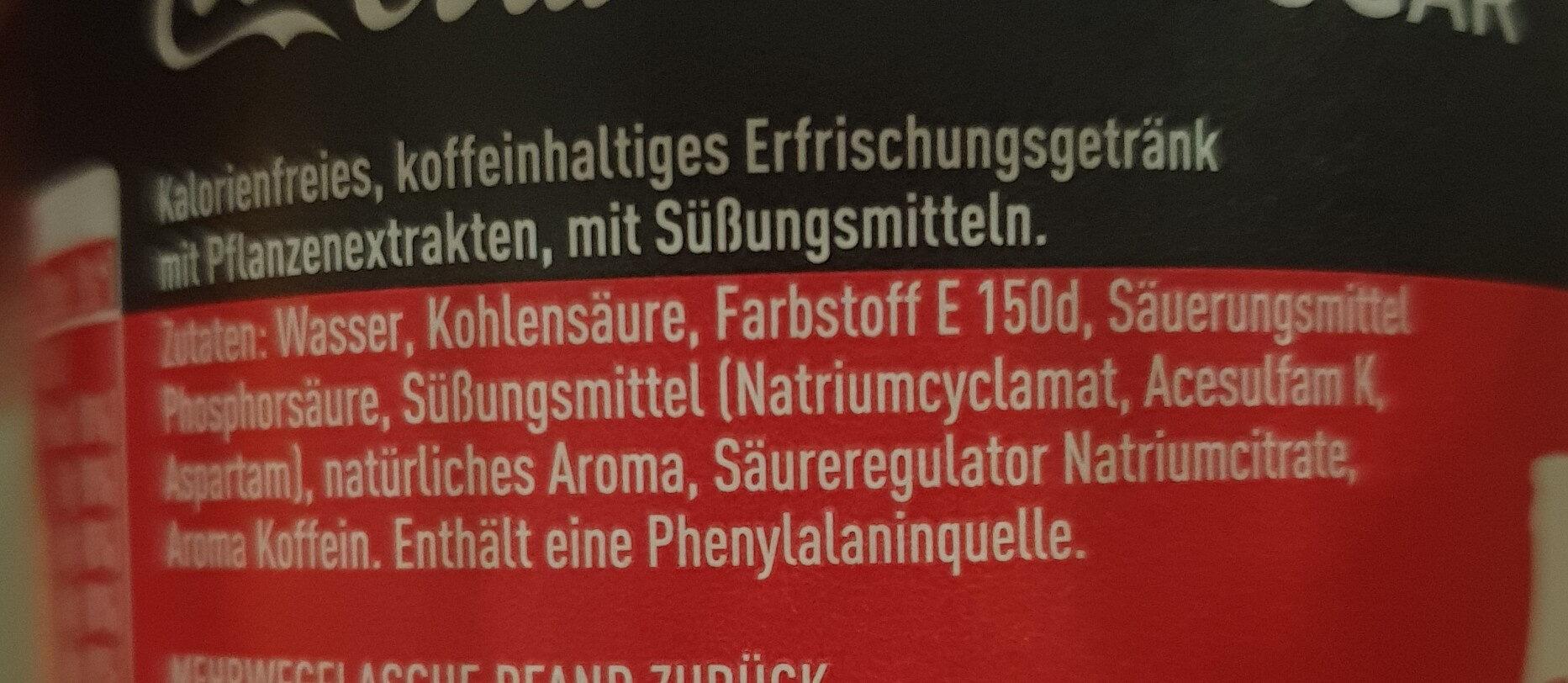 Coca-Cola Zero - Ingrédients - de