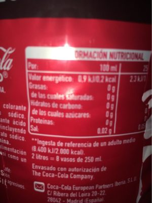 Coca Cola Zero - Voedigswaarden