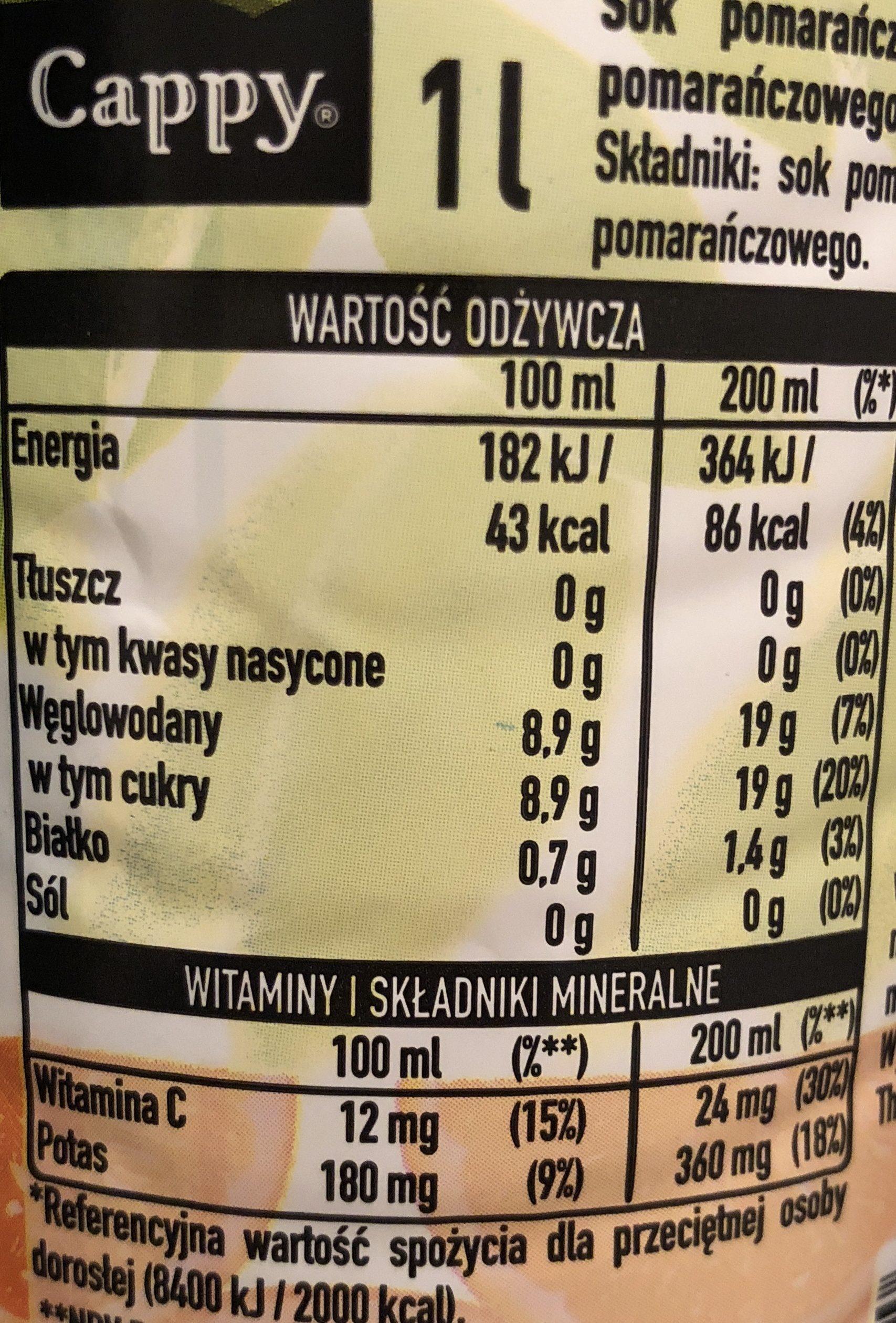 Cappy 100% orange - Ingrédients