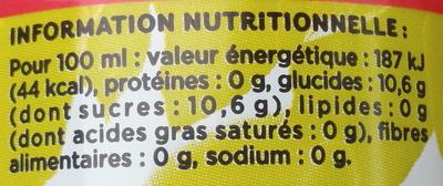 Rouge sensation - Nutrition facts