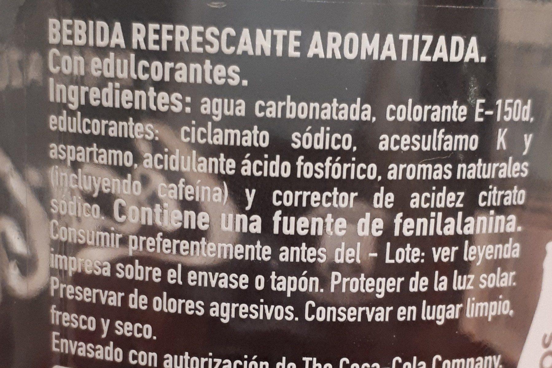 Coca Cola Zero cristal - Ingredienti - fr