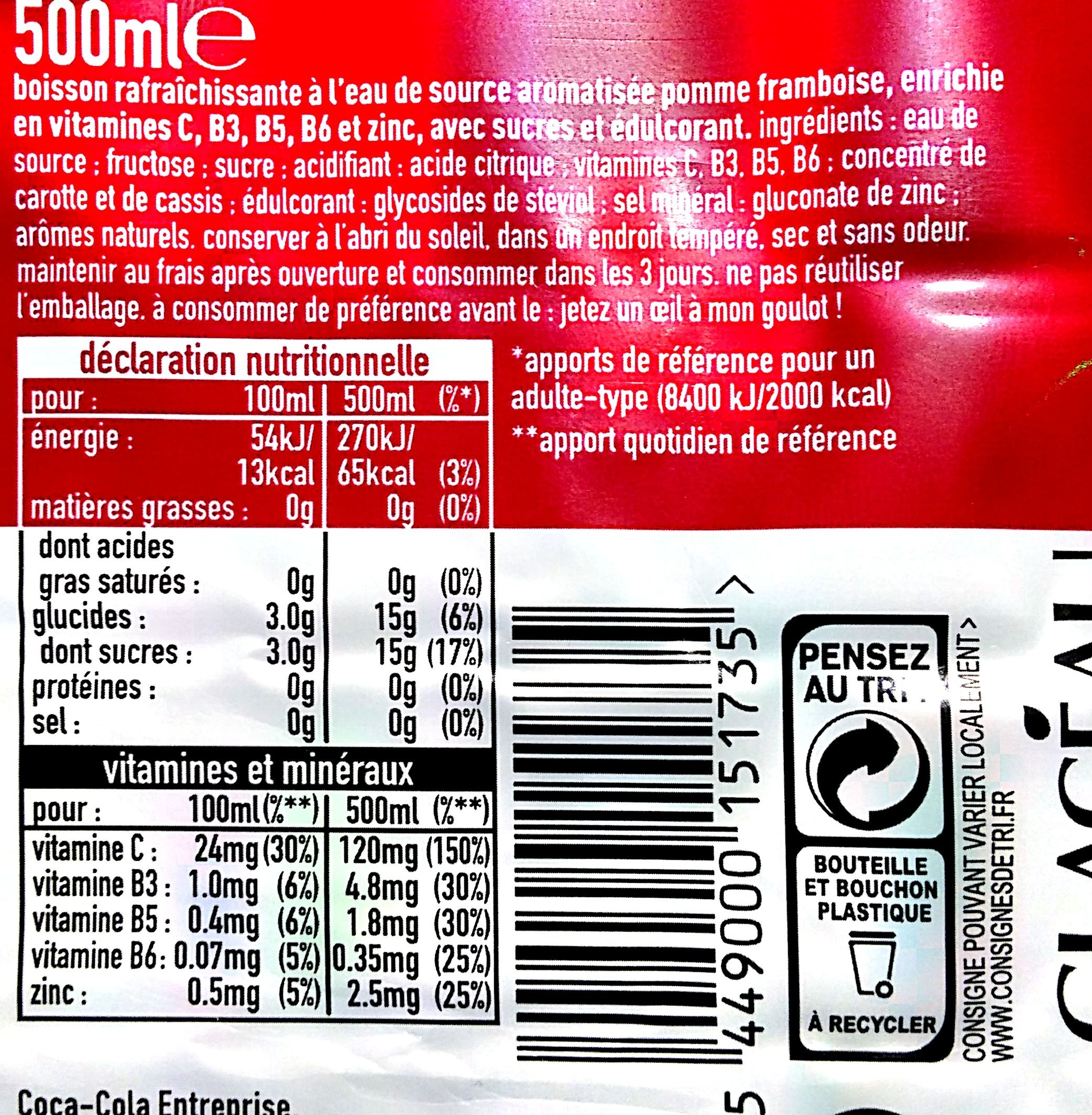D-Fence Pomme - Framboise - Nutrition facts