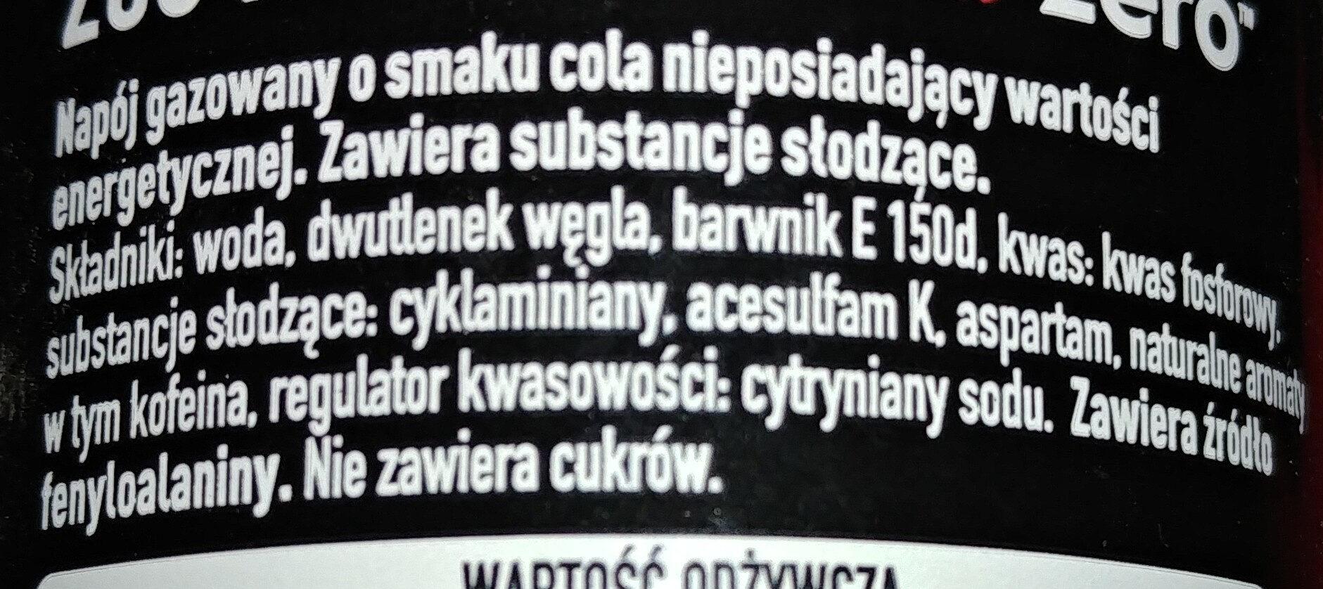 Napój gazowany o smaku cola - Składniki
