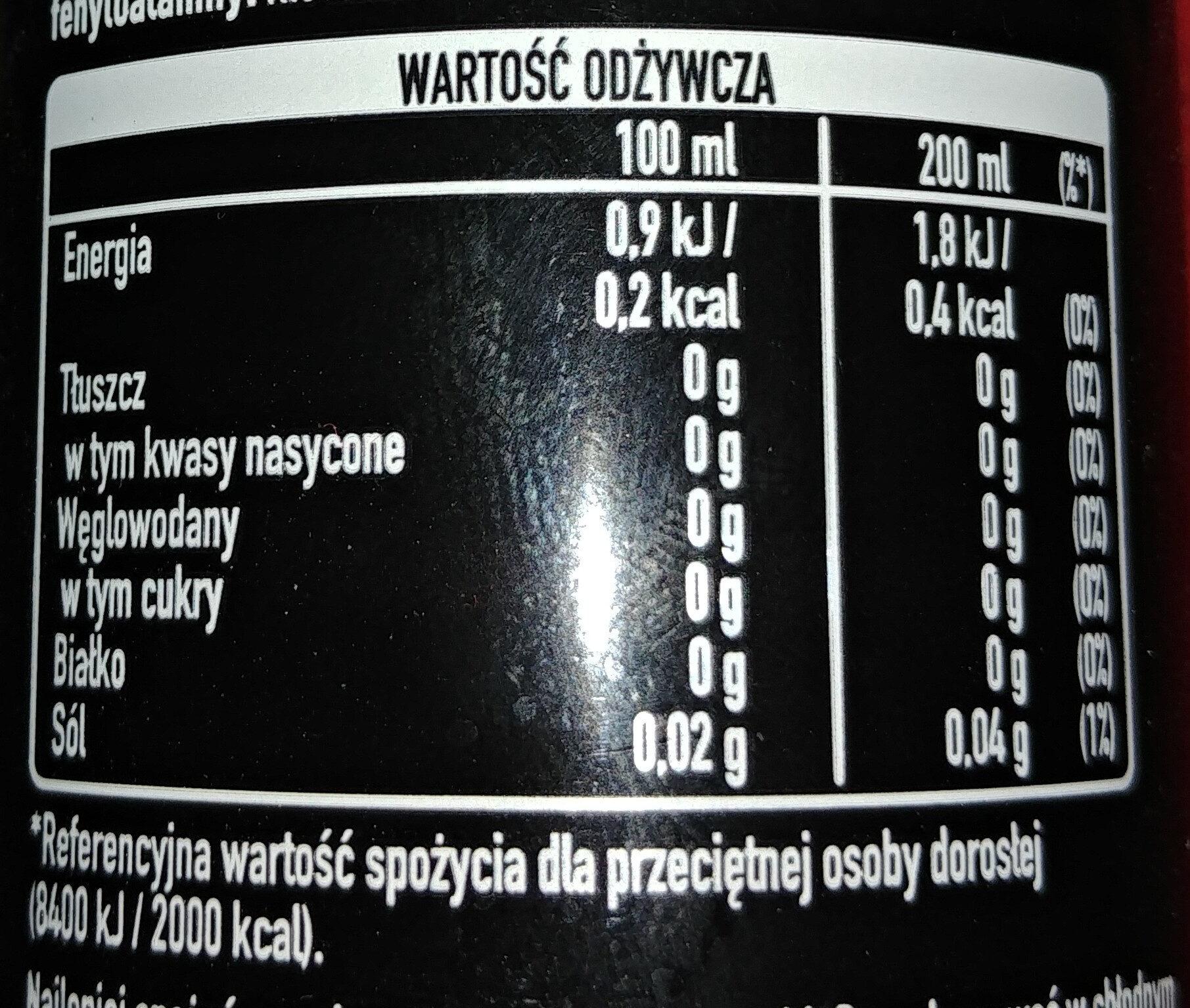 Napój gazowany o smaku cola - Wartości odżywcze