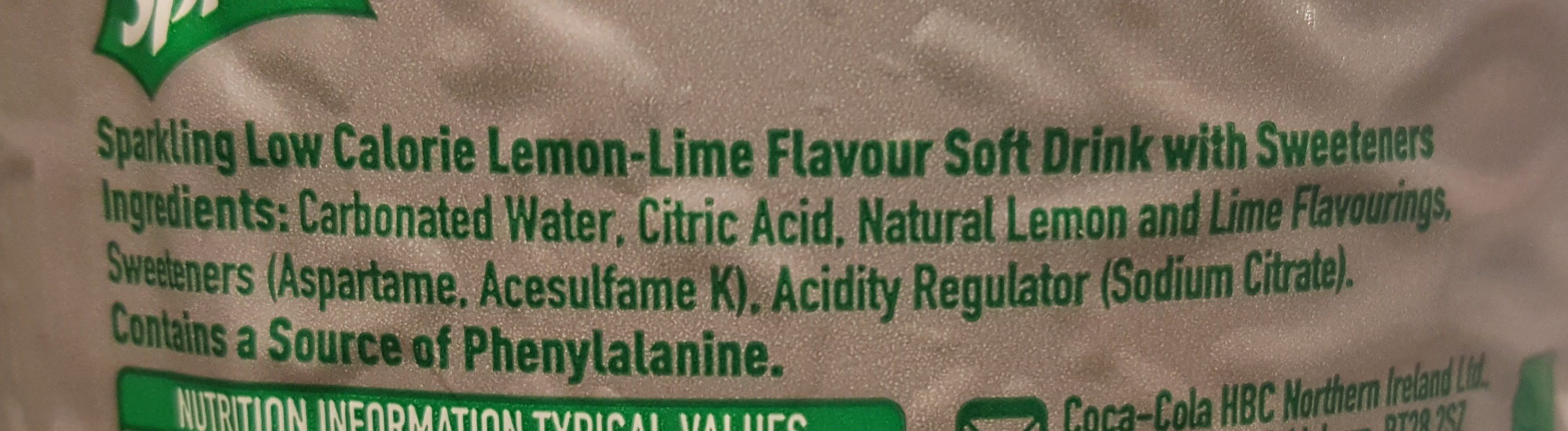 Sprite - Ingredients - en