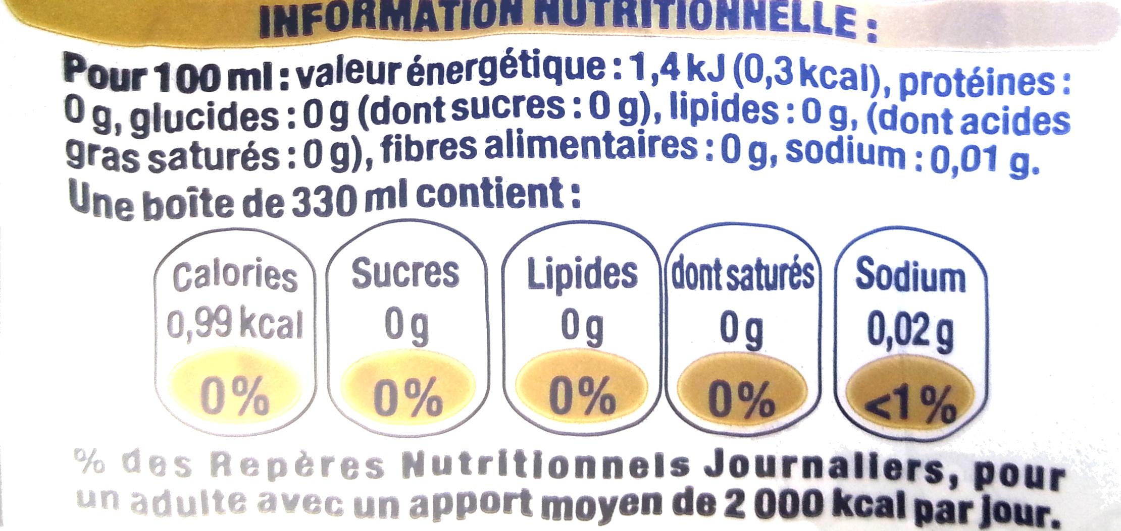 Coca-Cola Zero sans caféine - Valori nutrizionali - fr