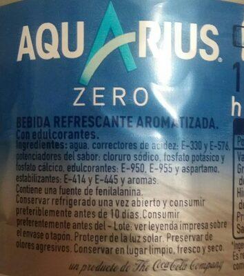 Aquarius Libre Limón Botella Sin Azúcar - Ingredients