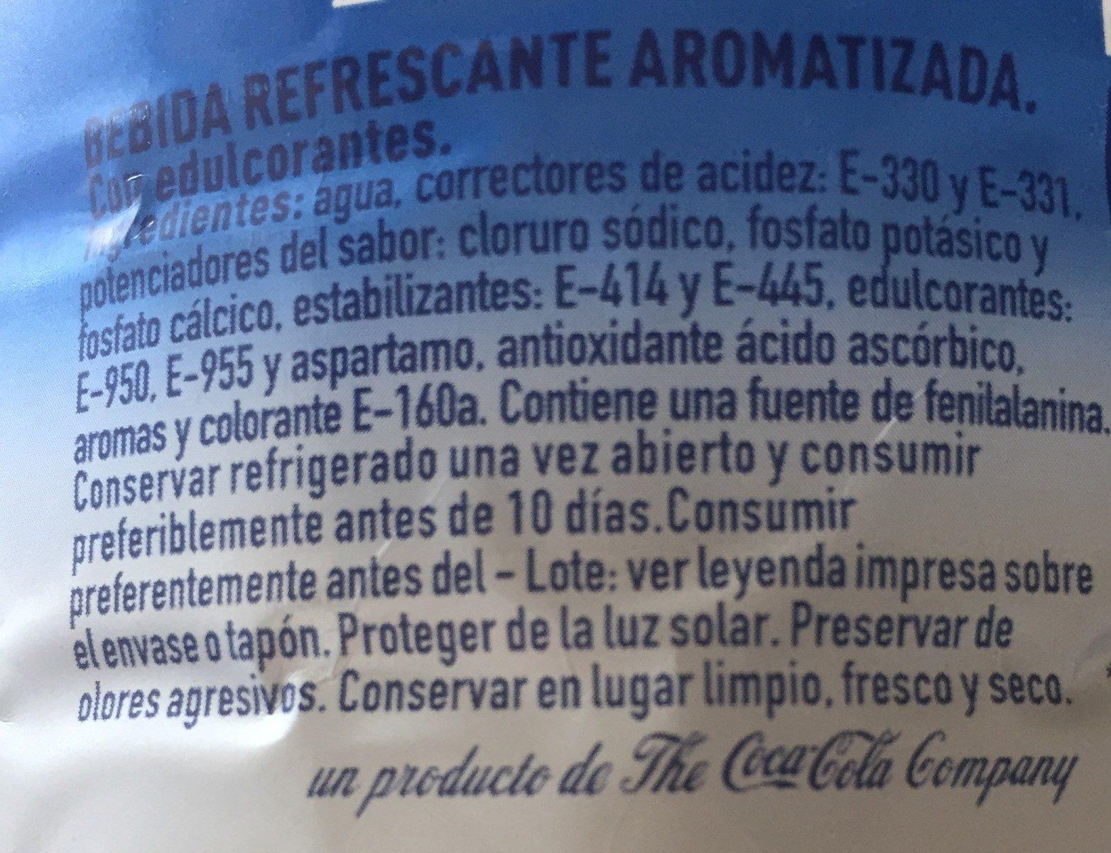 Aquarius Libre Naranja Botella Sin Azúcar - Ingredients