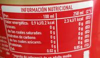 Cocacola Zero Sin Cafeina - Información nutricional