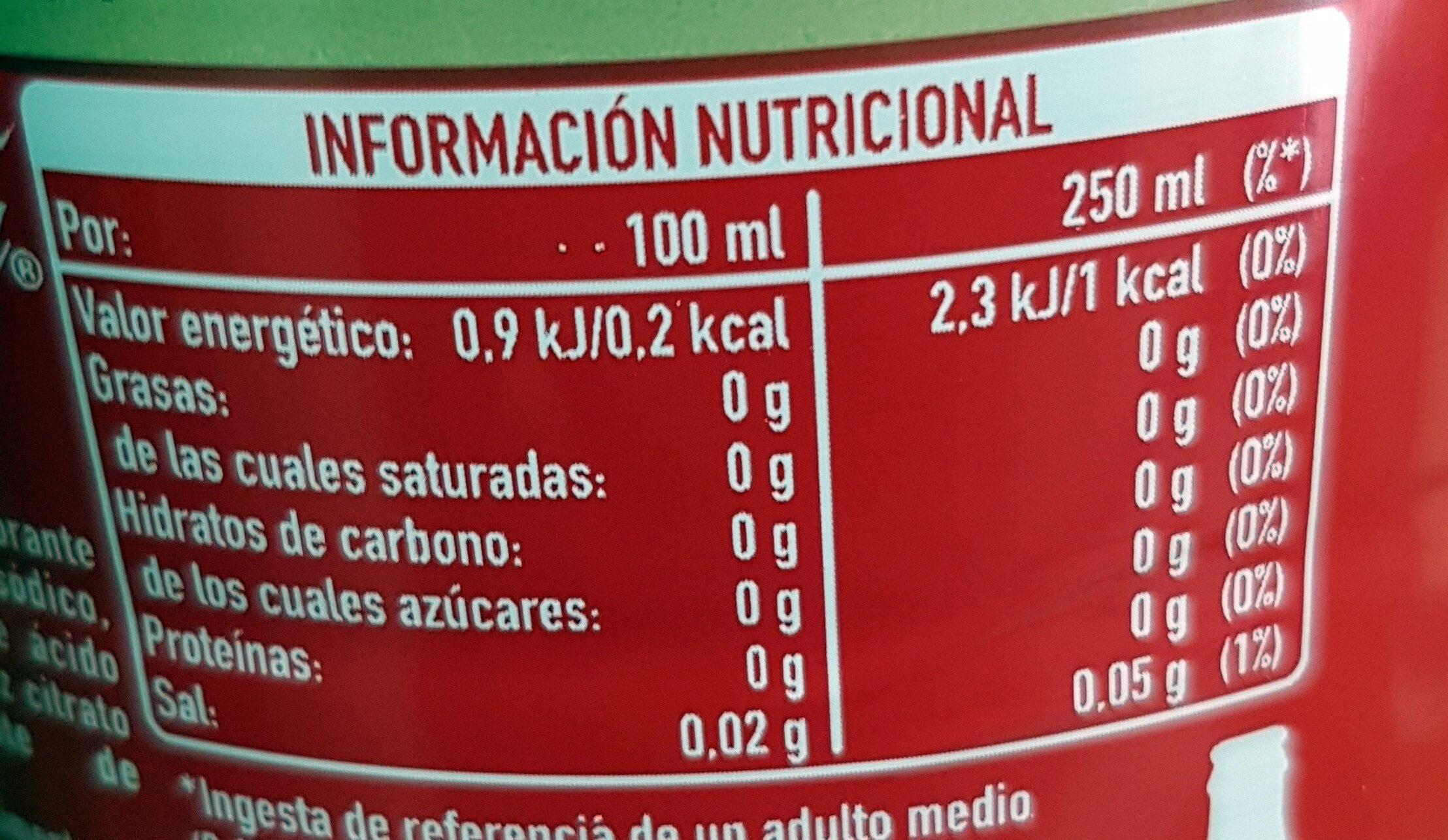 Coca-Cola Zero azúcar Zero cafeína - Valori nutrizionali - es