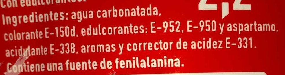 Coca-Cola Zero Zero - Ingredientes - es