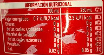 Coca-Cola Zero Zero - Información nutricional - es