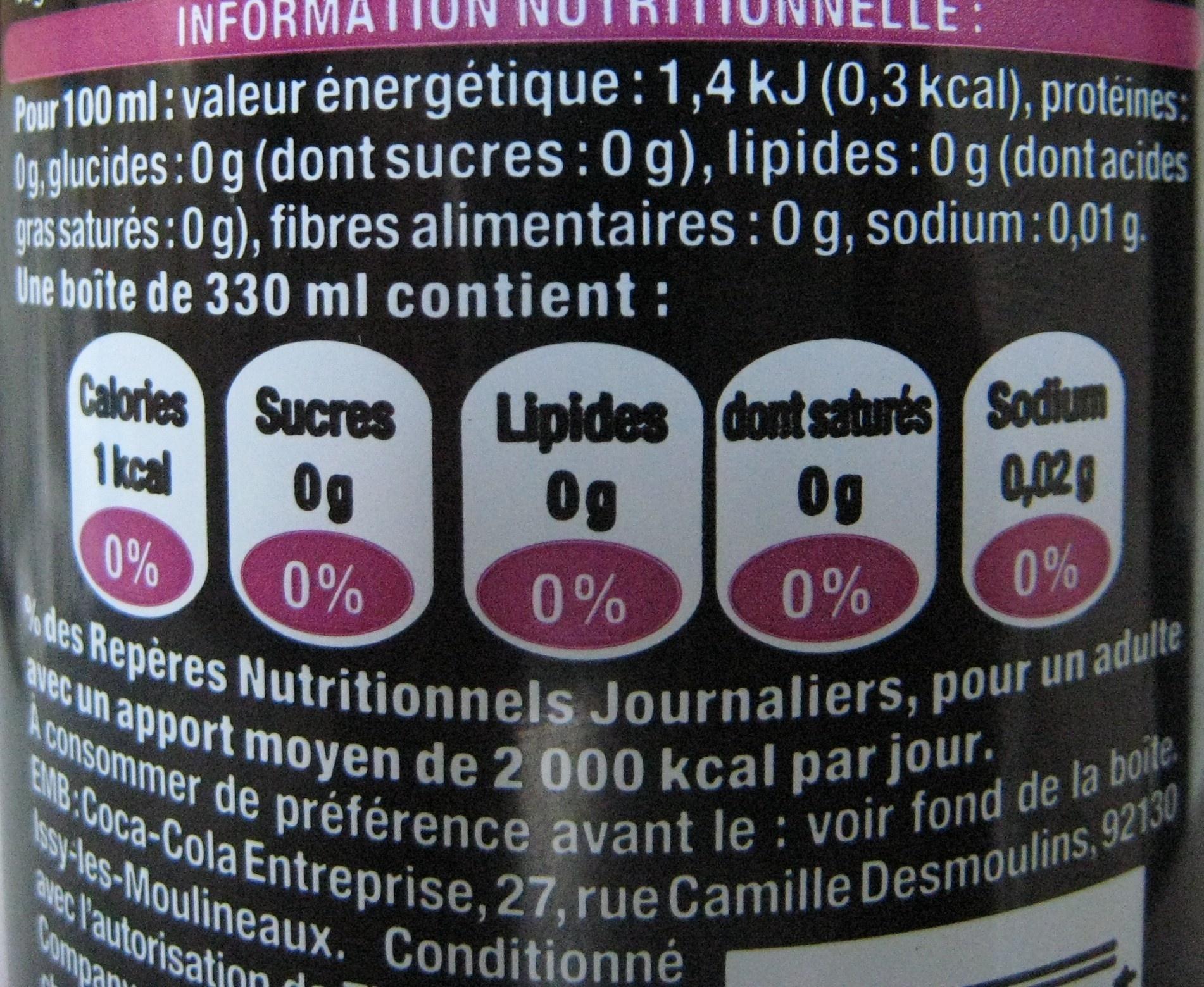 Coca Cola Zero Nutrition Coca-cola Canette 33 cl Zero