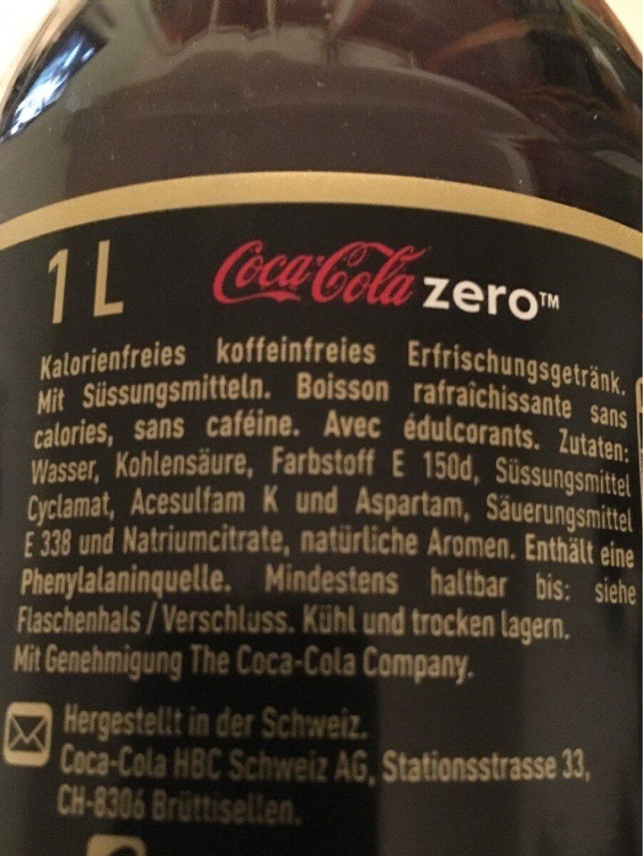 Coca - Cola Zero Koffeinfrei - Ingredients - fr