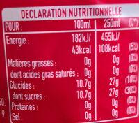 Coca Cherry - Valori nutrizionali - fr