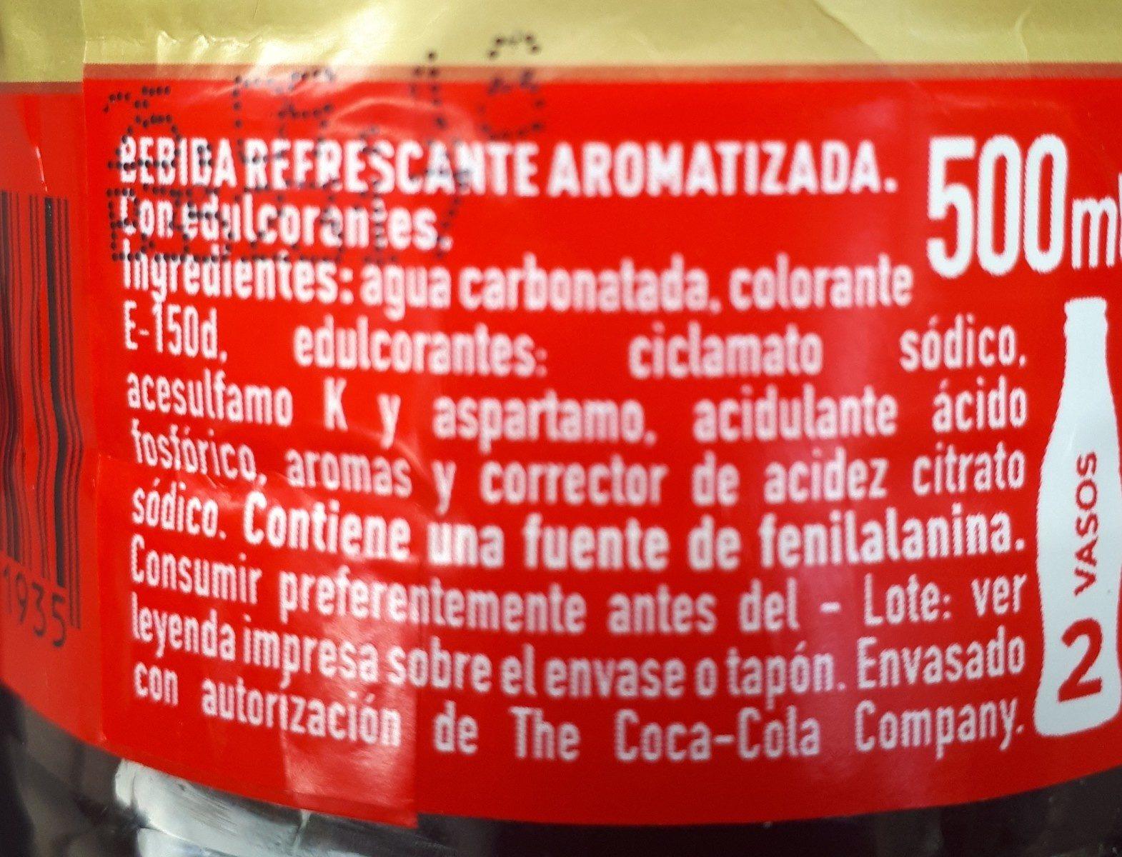 Coca zéro sans caféine - Ingrédients