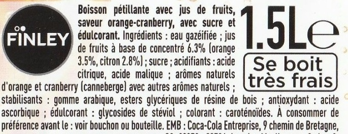 Orange & saveur cranberry - Ingredients - fr