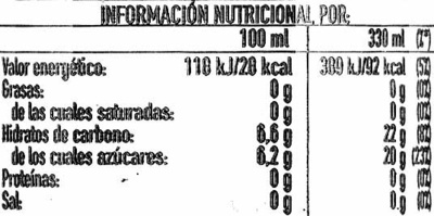 Limón&nada ligero - Informations nutritionnelles - es